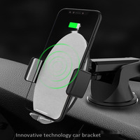 Qi Wireless Charger Car Holder for iPhone XS XR Samsung Mobile Phone Holder Stand Air Vent Mount Gravity+Sucker Car Phone Holder