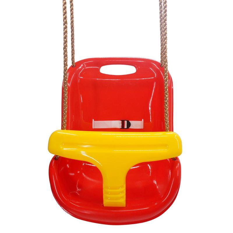 Haut dossier bébé balançoire large ceinture de sécurité enfant en bas âge enfant en plein air jeu rouge se fixe facilement à la plupart des ensembles de balançoire
