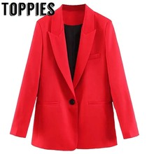 toppies 2019 Red Suit Women Single Button Jacket Notched Collar Ladies Office Blazer