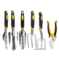 ANENG 6 Piece Garden Tool Set Gardening Tool Kit Heavy Duty Cast Aluminum Heads Ergonomic Handles