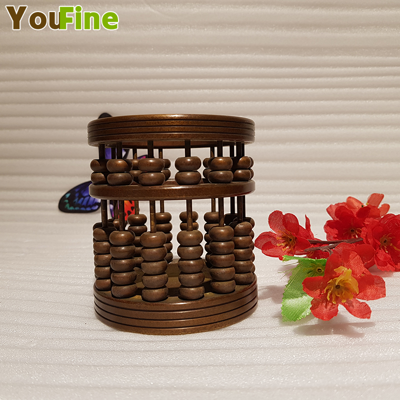 Chinese style vintage bronze brass abacus pen holder handmade ancient craft craft supplies ornaments in Home Office Storage from Home Garden