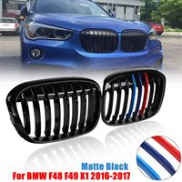 Pair Matte Black/Gloss Black M Color Front Kidney Grill Grille For BMW F48 F49 X1 2016 2017 Car Styling