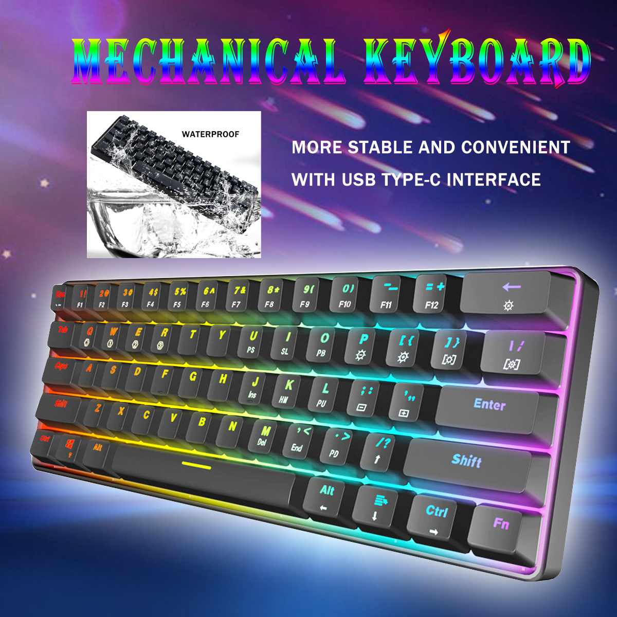 Gateron Switch RGB Game Mechanical Keyboard Optical Axis Can Be Inserted Cable Mechanical Axis 61 key gamesGateron Switch RGB Game Mechanical Keyboard Optical Axis Can Be Inserted Cable Mechanical Axis 61 key games