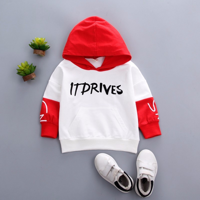 2019 New Spring Autumn Fashion Baby Clothes Boys Girls Cotton Leisure Hooded Sweatshirts Infant Letter Blouse Kids Hoodies Tops in Hoodies Sweatshirts from Mother Kids