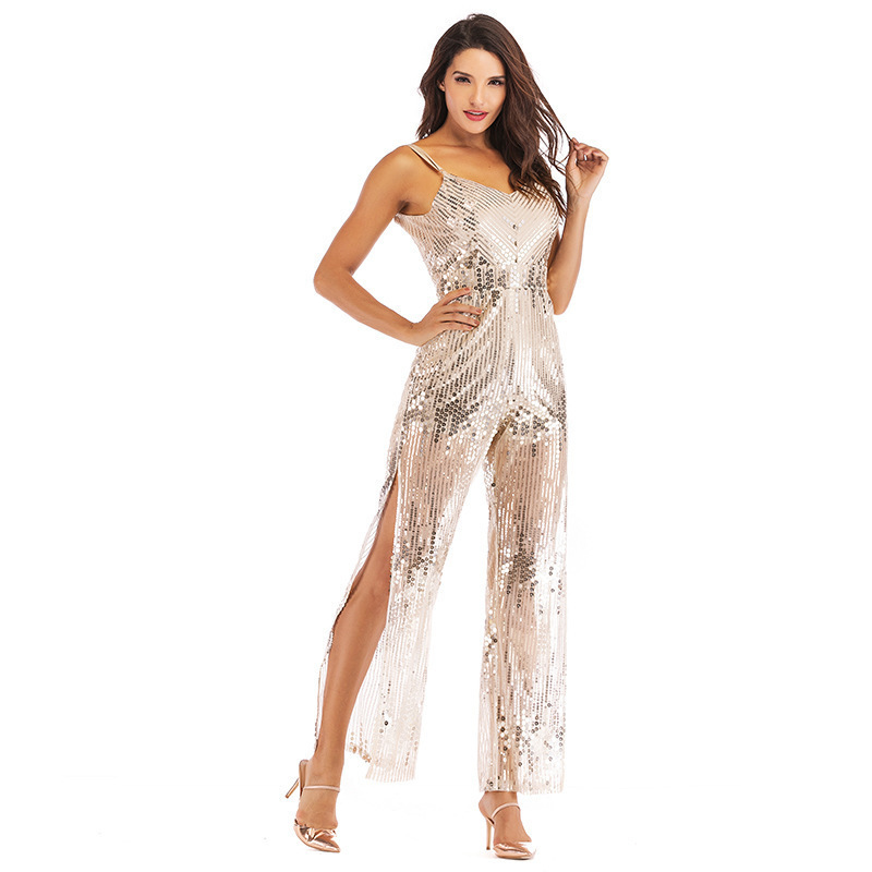 Glitter Silver White Sexy Sequin Transparent Jumpsuit One