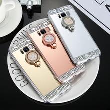 KISSCASE Diamond Phone Case For Samsung Galaxy A3 A5 A7 J3 J5 J7 2016 2017 Mirror S8 Plus S7 S6 Edge Ring Holder