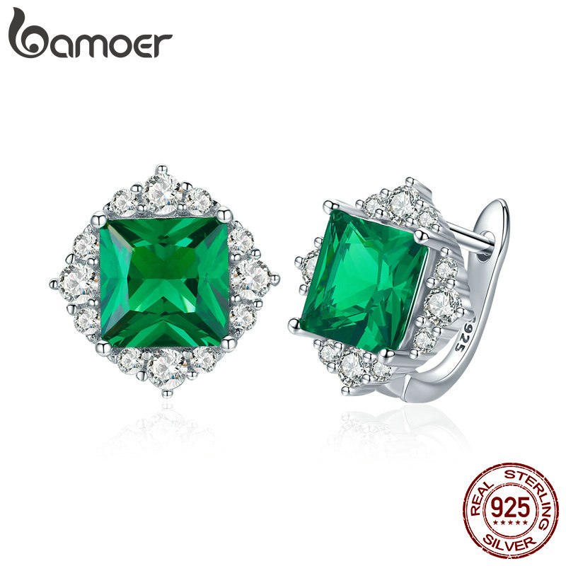 BAMOER Classic Genuine 925 Sterling Silver Green Square Zircon Stud Earrings For Women Wedding Earrings Silver Jewelry SCE540
