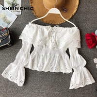 Vacation Boho Runway Tops 2019 Spring Summer Sexy Off Shoulder Flare Sleeve Hollow Out Lace Blouses Womens White/Red Shirt