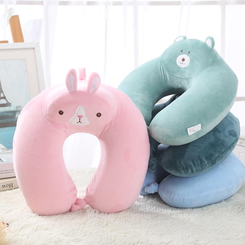 Cartoon Animals Rabbit Bear U Shape Office Nap Neck Plush Soft Pillow Travel Bus Sleeping Creative Stuffed Animals Plush Pillows