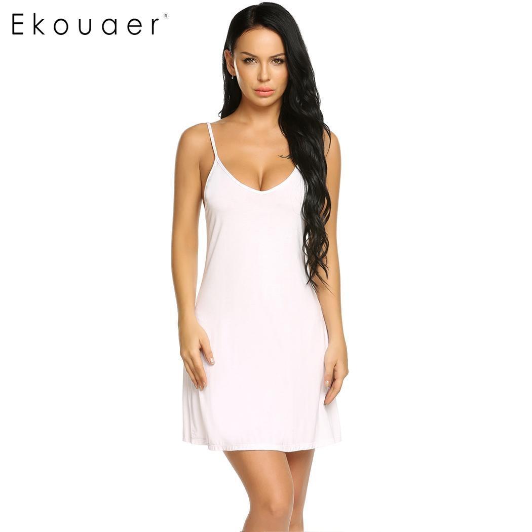 Ekouaer Women Sexy Lingerie Nightgown Sleepshirts Sling V-Neck Nightdress Adjustable Spaghetti Strap Slim Night Dress Nightwear