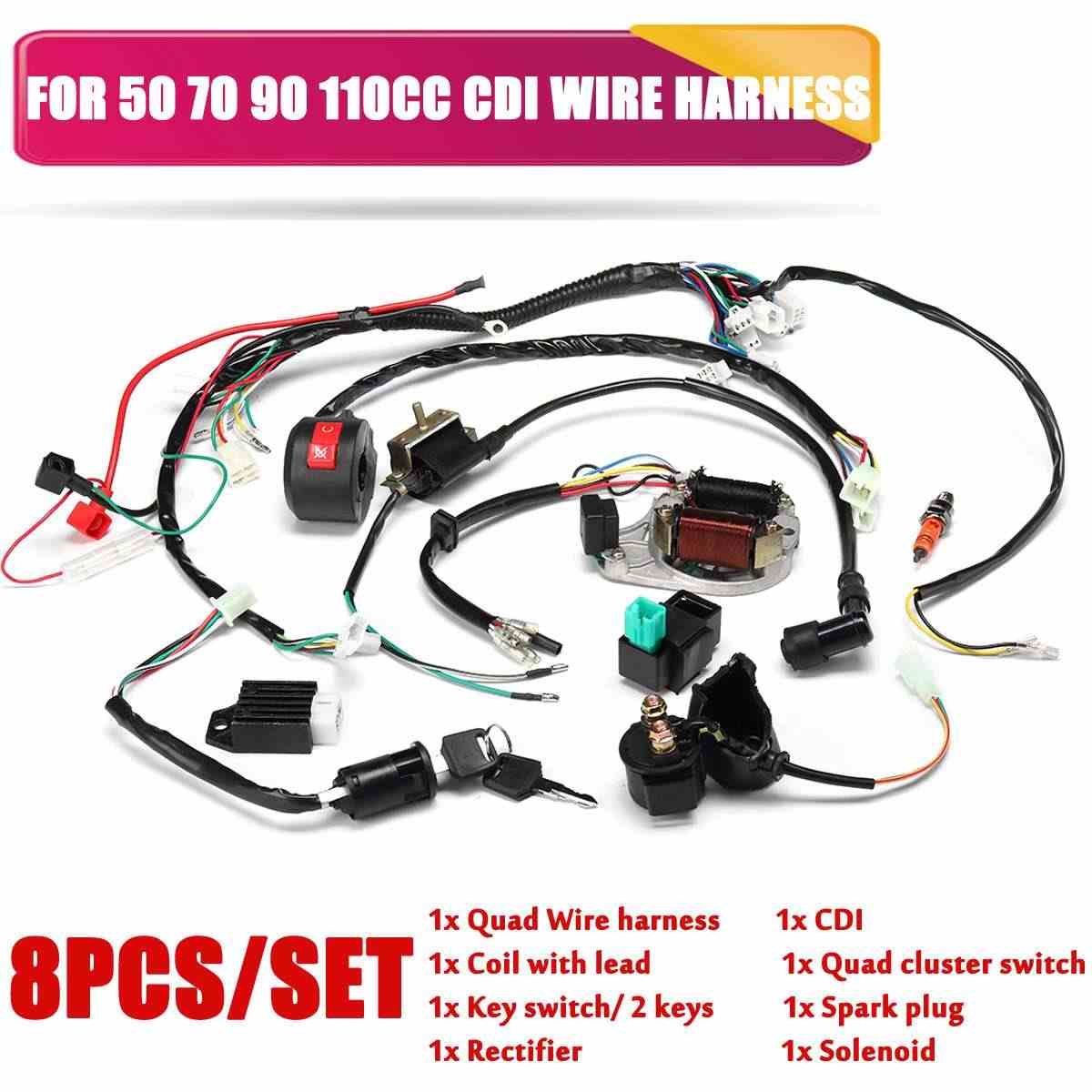 ATV Ignition Electric Complete Wiring Harness embly Start Engine Wiring on