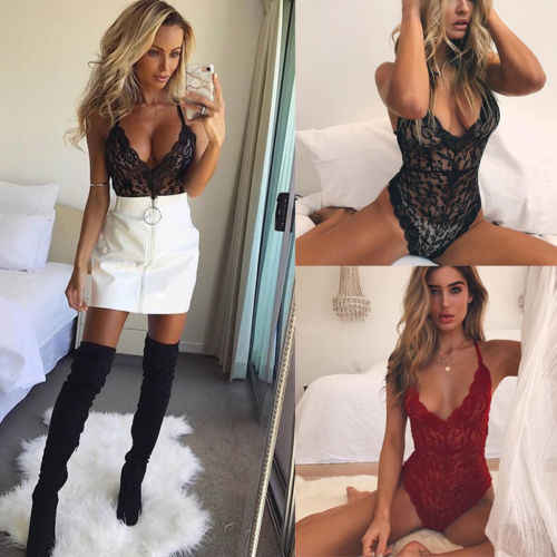 2019 Sexy Lace Lingerie Women Ladies Lingerie Nightwear Underwear Lace Babydoll Teddies Bodysuit Plus Size S-2XL