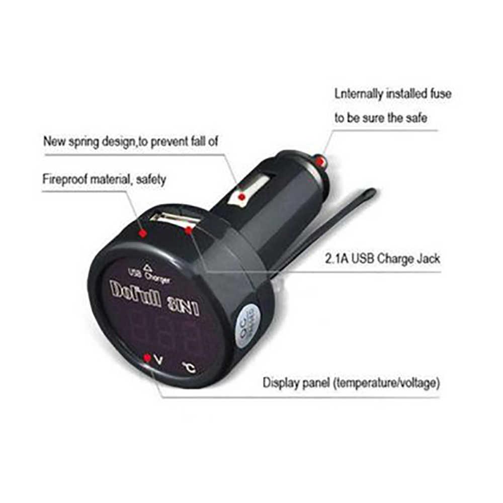 3in1 LED Digital Voltmeter Thermometer 12v 24v Cigarette Lighter USB Car Charger Pressure Gauge Thermometer
