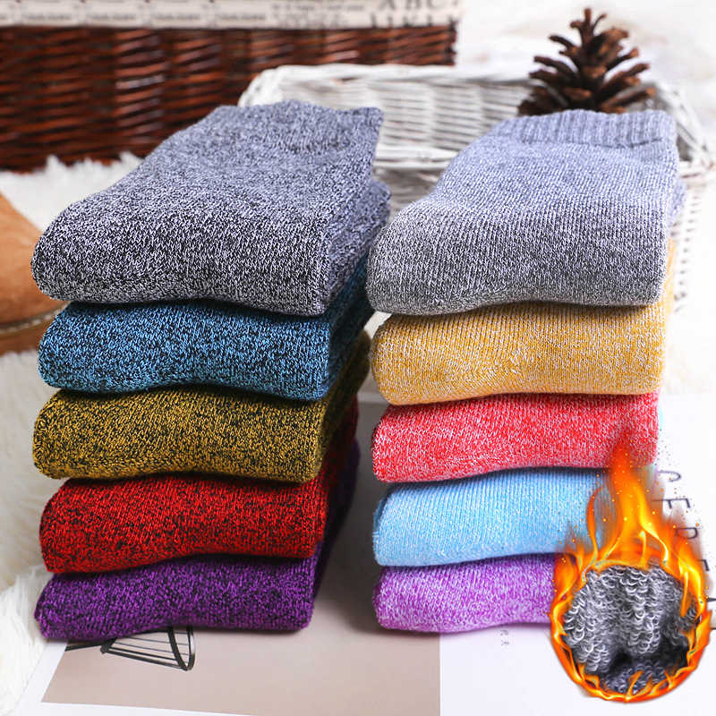 Winter Wamer Women Thicken Thermal Wool Cashmere Snow Socks Seamless Terry Boots Floor Sleeping Socks for Mens
