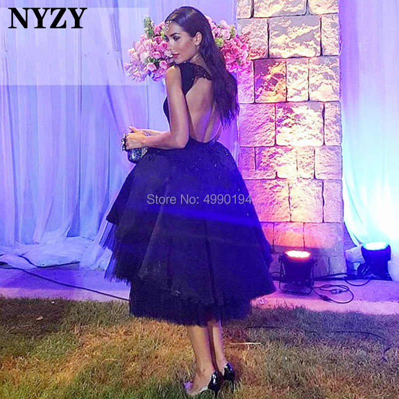 NYZY C86 Elegant Black Evening Dress Short Backless Ball Gown Cocktail Dress Party Vestido Coctel Custom Made