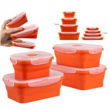 Еда контейнер прямоугольной формы кремния Еда уплотнение контейнер складной контейнер eco-friendly Коробки для обедов для путешествий#1029