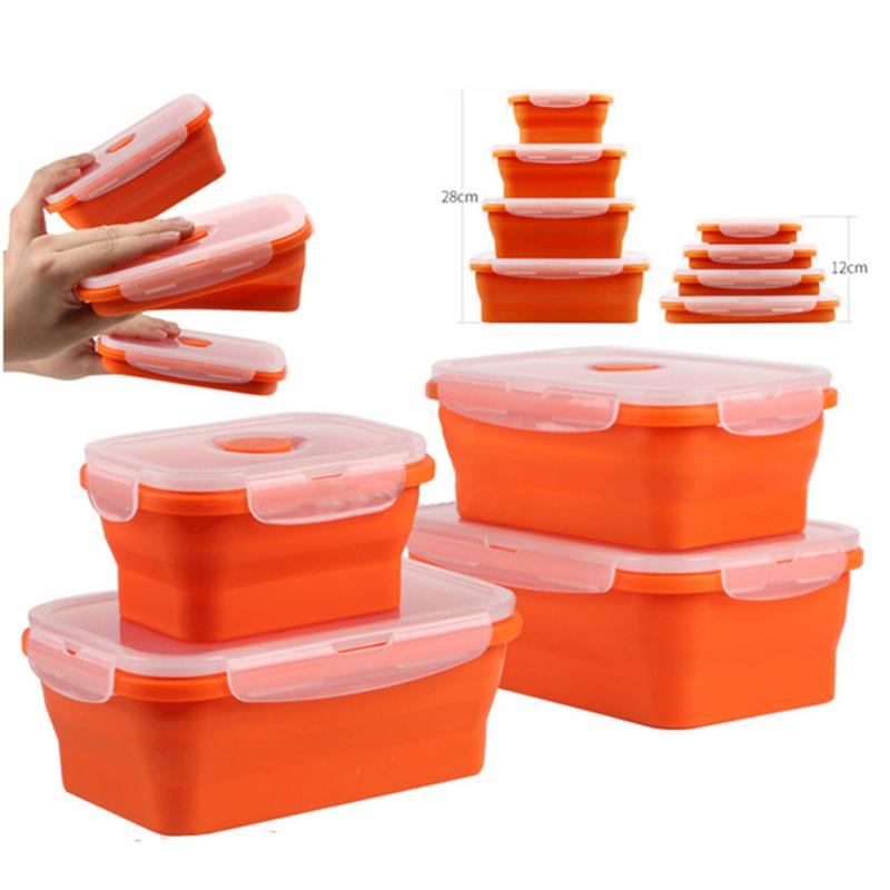 Food Container Rectangular Silicon Food Seal Container Box Foldable Crisper Eco-friendly Lunch Box For Travelling Camping #1029
