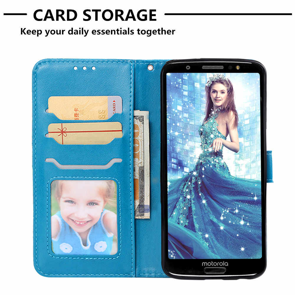 Flip Leather Book Phone Case Shell For Motorola Moto One G6 Plus P30 Play G6Plus Fireworks Elephant Texture Wallet Card Pocket