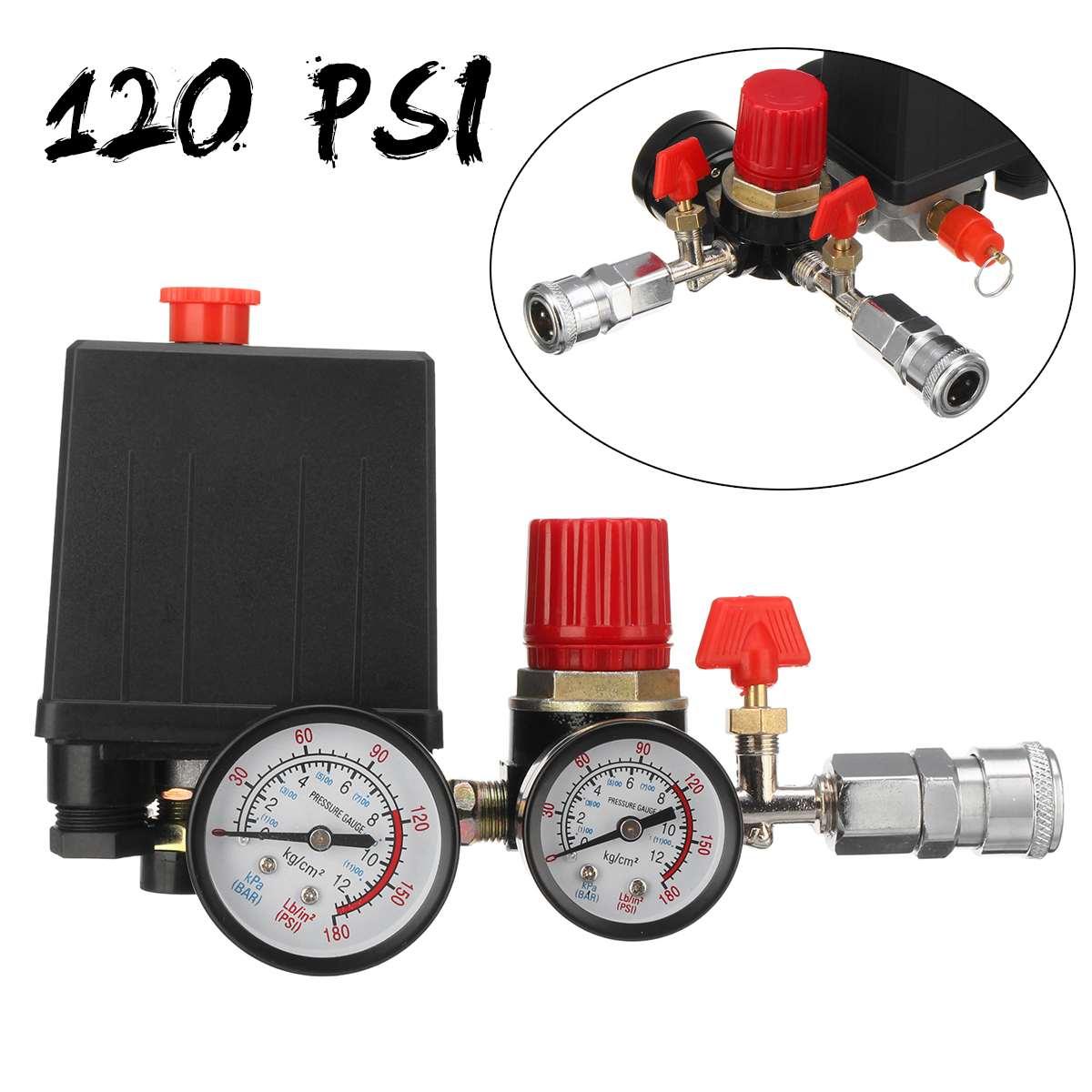 240V AC Regulator Air Compressor Pump Pressure Control Switch Air Pump Control Valve Regulator With Gauge Quick Connector