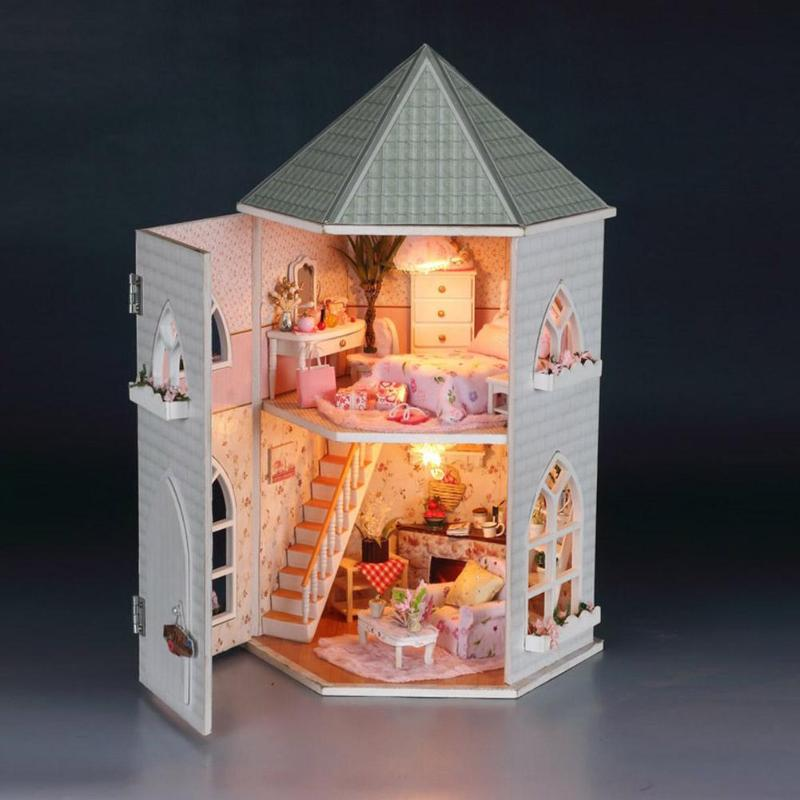 DIY Doll Houses Wooden Miniature Handmade Assembly Furniture Kit Box Puzzle Assemble Sweet Word Dollhouse Toys Christmas Gift