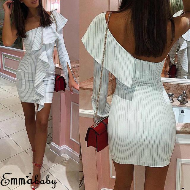 2019 New Sexy triped Dress Ruffle Sheath Dress Women Summer Dress Ladies One Shoulder Club Party Rockabilly White Mini Sundress