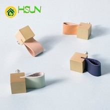 2PCS Northern Europe Brass Handle Cupboard Wardrobe Furniture Pure Copper Leather Small Concise Design Block
