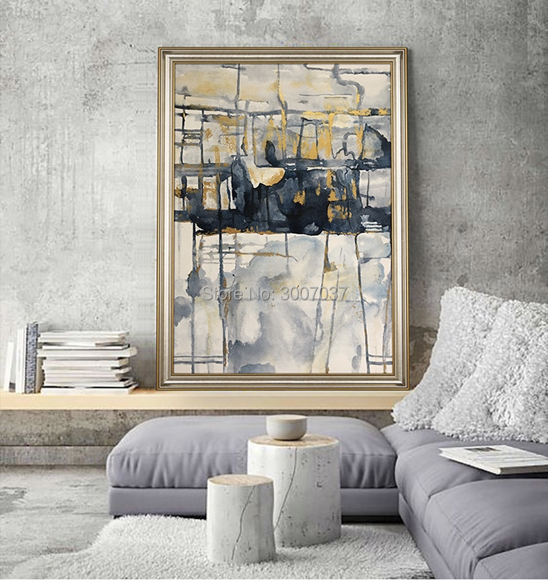 Art abstrait fait à la main toile peinture Art toile bleu et jaune peinture à l'huile affiche décoration murale décor à la maison livraison gratuite