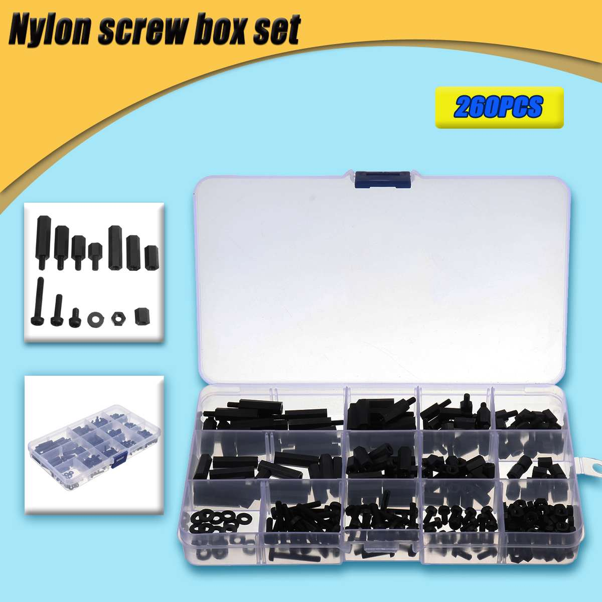 260Pcs M3 Black Nylon Hex Spacers Screw Nuts Bolt Assortment Kit Stand-off Set With Box Insulation For Electronics Components260Pcs M3 Black Nylon Hex Spacers Screw Nuts Bolt Assortment Kit Stand-off Set With Box Insulation For Electronics Components