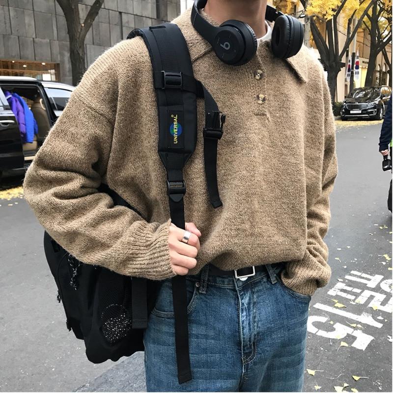0e31df649ac9e 2018 осень и зима новый тренд ретро повседневный мужской свободный лацкан свитер  мужской джемпер серый/