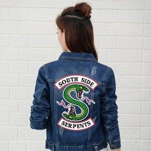 Image 3 - Джинсовая куртка Riverdale женская с надписью «South Side Serpents», уличная одежда, топ из денима, джинсовая одежда в стиле Харадзюку, хип хоп, весна