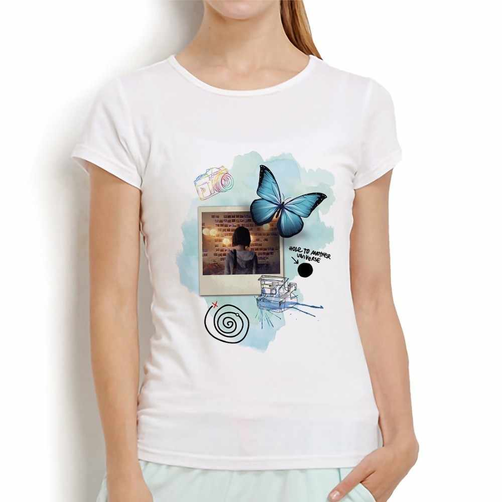 Cuộc sống là lạ bướm tua lại vui t áo sơ mi nữ mùa hè mới giản dị màu trắng ngắn tay áo femme áo thun