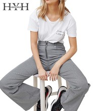 HYH Haoyihui  Pure Color White Round Collar T-shirt Loose Front Letters Printed Tops Girls Casual Short Sleeves цена