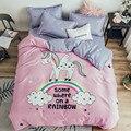 Хлопковый комплект постельного белья с мультяшным радужным единорогом  Детский Комплект постельного белья для девочек  Розовый пододеяльн...
