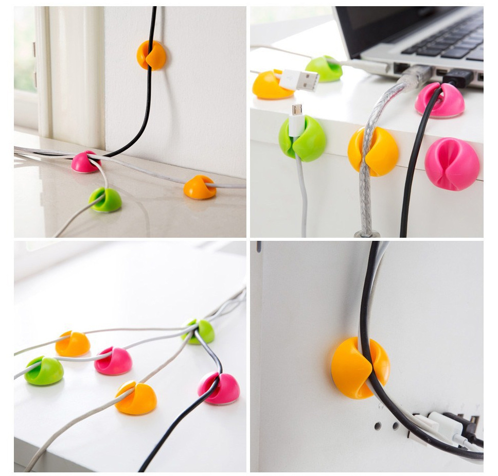 3pcs Solid Wire Clip Organizer Office Accessories Bobbin Winder Wrap Cord Cable Manager For Mouse USB Keyboard Lines