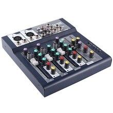F-4 4-канальный Профессиональный Live смешивания Студия Аудио Звук консоли сети якорь Портативный перемешивающего устройства Вокальный процессор эффектов