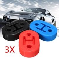 3 pçs 2 furos diâmetro 11mm universal tubo de escape de borracha do carro suportes montagem cabide isolador azul preto vermelho|Ganchos  braçadeiras e flanges| |  -