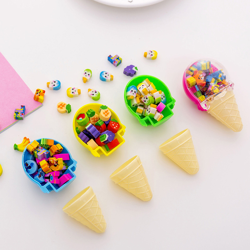 1PC Cute Ice Cream Rubber Erasers Kawaii Fruit Pencil Erasers Creative Erasers For Kids Gift School Office Supplies Stationery