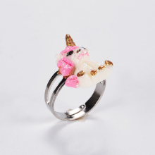 Girls' Resizable Cartoon Unicorn Rings Set