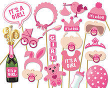 19pcs Its A Girl Pink Photo Booth Props Photobooth DIY Kits on Sticks Decoration Favor Gifts