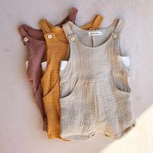 0-3T Toddler Kids Baby Girl Boy Cotton Brace Pants Overalls Jumpsuit Ro