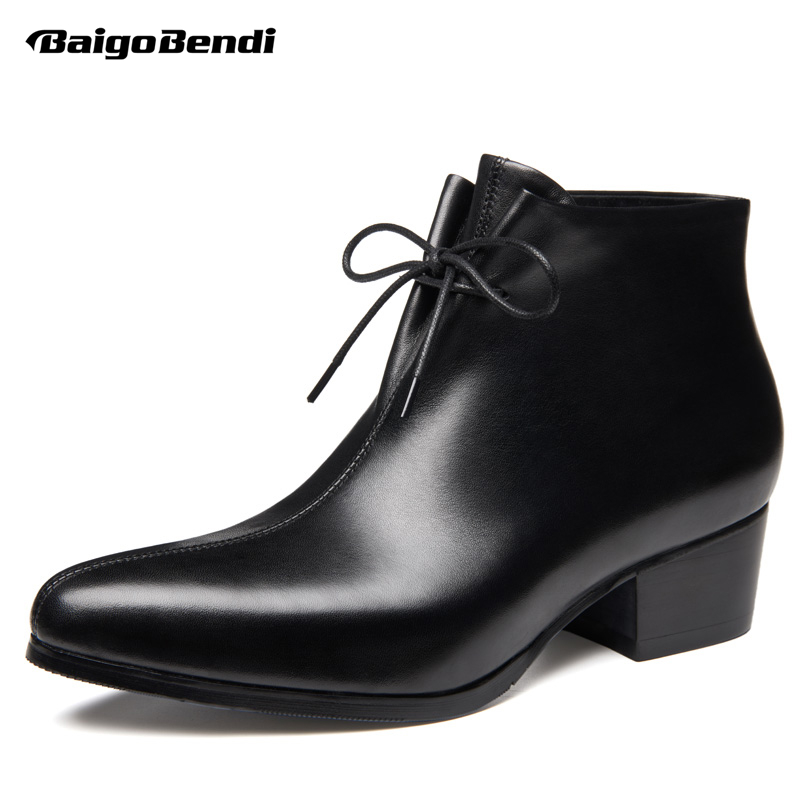 US 5-10 Pointed Toe Wedding Shoes Men Winter Shoes Formal Dress Oxfords Heighten Shoes 5cm High Heels Boots ManUS 5-10 Pointed Toe Wedding Shoes Men Winter Shoes Formal Dress Oxfords Heighten Shoes 5cm High Heels Boots Man