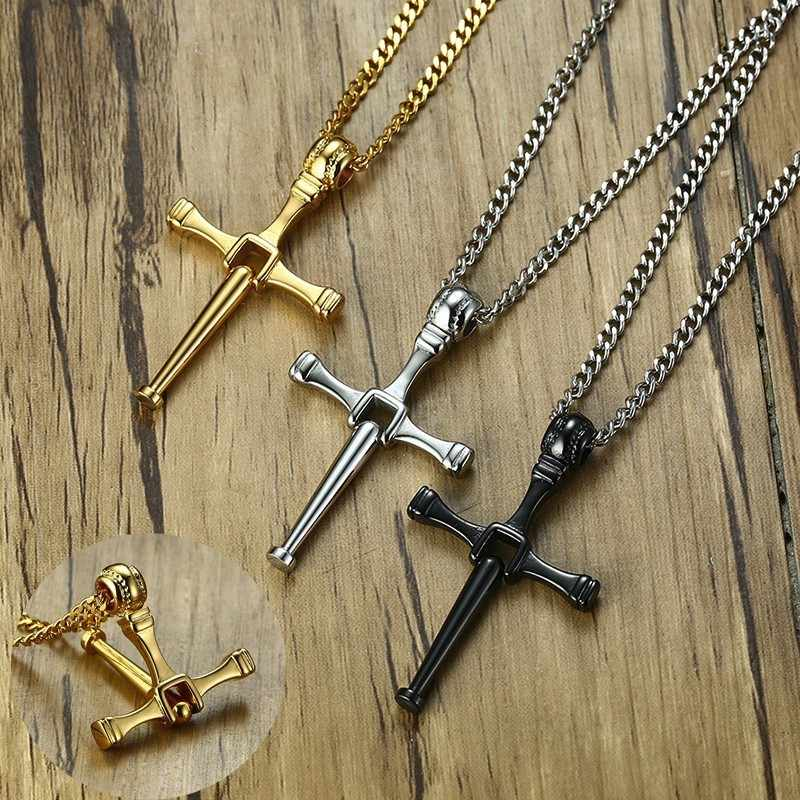 Athletes Cross Necklace by Pendant Sports Stainless Steel Baseball and Baseball Bat Crosses Jewelry Gold Silver Black with 24in