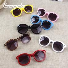 Iboode Retro Vintage okulary przeciwsłoneczne dla dzieci UV400 marka projektant 2018 okulary przeciwsłoneczne dla dzieci luksusowe odcienie Boys Baby dziewczyny okulary tanie tanio CN (pochodzenie) ROUND Z tworzywa sztucznego 50MM 61MM 10mm 130mm 54mm 120mm