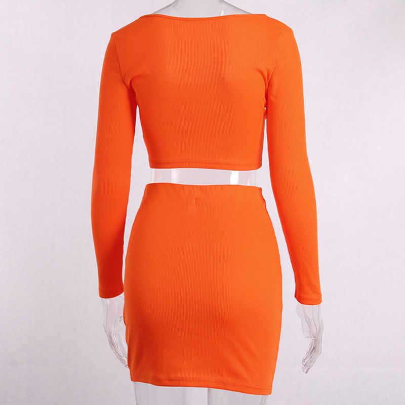 BOOFEENAA/пикантная Оранжевая женская одежда из двух предметов укороченный топ с длинными рукавами и пуговицами и короткая юбка в комплекте C66-AB64