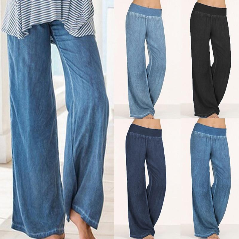 Plus Size Celmia Women Denim   Wide     Leg     Pants   Jeans Elastic High Waist Trousers Womens Clothing Casual Bottoms Pantalon Palazzo