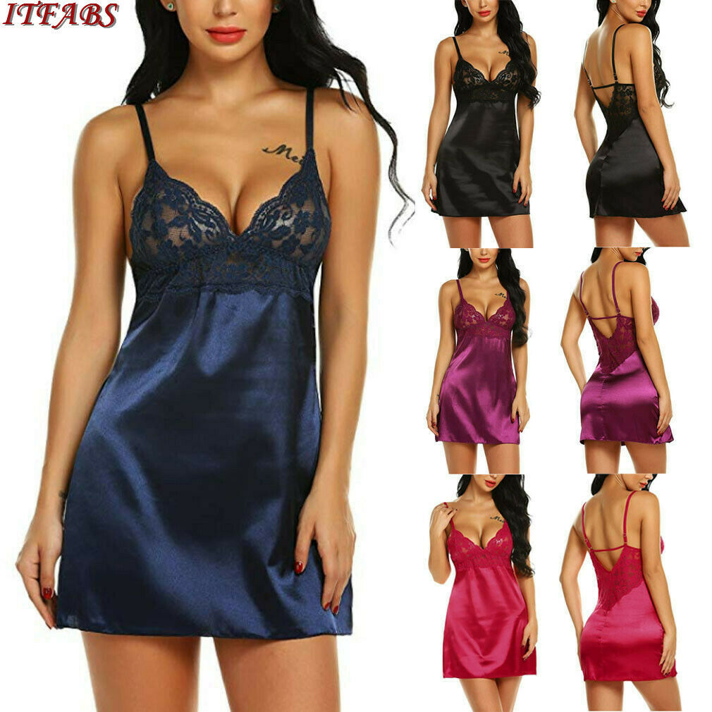 Summer New Sexy Lingerie Women Silk Lace Robe Dress Sleeveless Babydoll Nightdress   Nightgown   Sleepwear   Sleepshirts   New