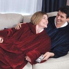 Толстовка с капюшоном на открытом воздухе зимнее пальто с капюшоном Теплый Наклонный Халат с капюшоном халат Толстовка флисовый пуловер одеяло для мужчин женщин