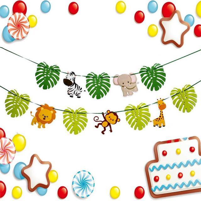 3 เมตรใหม่การ์ตูนสัตว์ป่าธีม Buntings คริสต์มาสวันเกิดงานแต่งงาน Buntings ตกแต่งแบนเนอร์พรรคเด็กห้องแขวนธง
