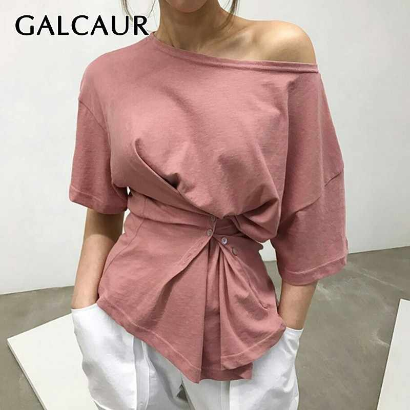 GALCAUR Solid Irregular T Shirt For Women O Neck Short Sleeve Slim Button Ruched Tops Female Summer 2019 Fashion Clothes New