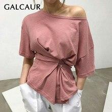 Женская Асимметричная футболка GALCAUR, однотонная облегающая футболка с круглым вырезом и коротким рукавом, на пуговицах и с рюшами, лето 2020Футболки    АлиЭкспресс
